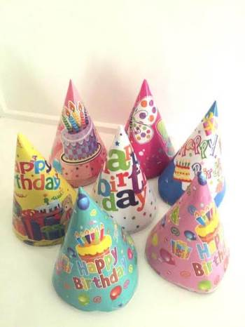 Happy Birthday Assorted Designs Hats - 12PC-0