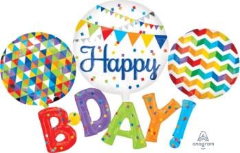 """Happy B-D-A-Y Multi Balloons 56"""" P80-0"""