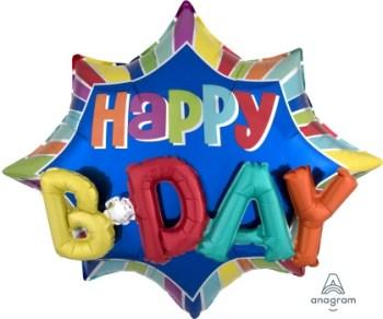 """Burst Happy Birthday Balloon 35"""" P50-0"""