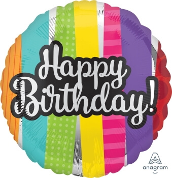 "Happy Birthday Patterns Balloon 18"" S40-0"