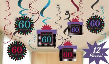 60th Birthday Swirl Decoration - 12 PC-0