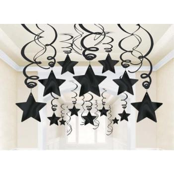 Black Star Swirl Decoration - 15PC-0