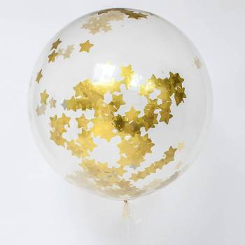 "36"" Transparent Balloon w/ Golden Star Confetti & Tassle - 1PC-0"