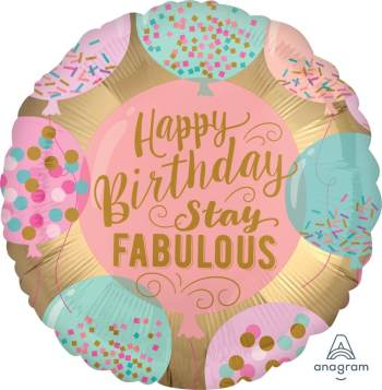 "18"" Happy Birthday Stay Fabulous Balloon S40-0"