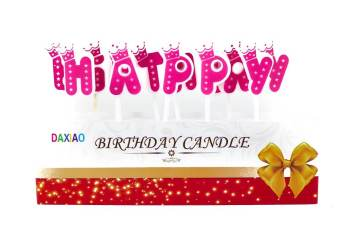 Happy Birthday Candle Pink - 5PC-0