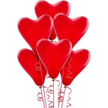 """15"""" Heart Shape Cherry Red Balloons - 10PC-0"""