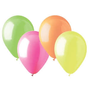 "12"" Neon Balloons Assorted Color - 20PC (Glows in UV Light)-0"