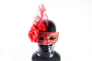 Red Mask w/Flower Feather-0