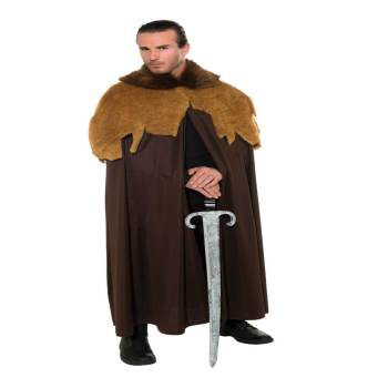 Adult Medieval Warrior Cloak Brown-0