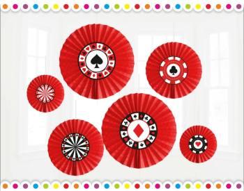 Card Party Paper Fan Decoration - 6PC Set-0