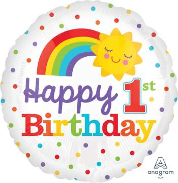"1st Birthday Rainbow Balloon 18"" S40-0"