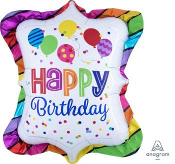 "Happy Birthday Bright Striped Trufle Balloon 27"" P35-0"