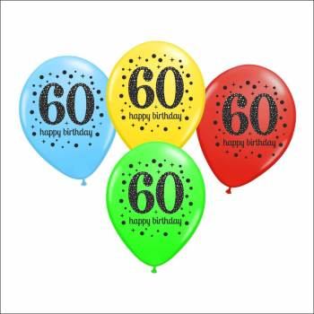 60th Birthday Printed Balloons - 15PC-0