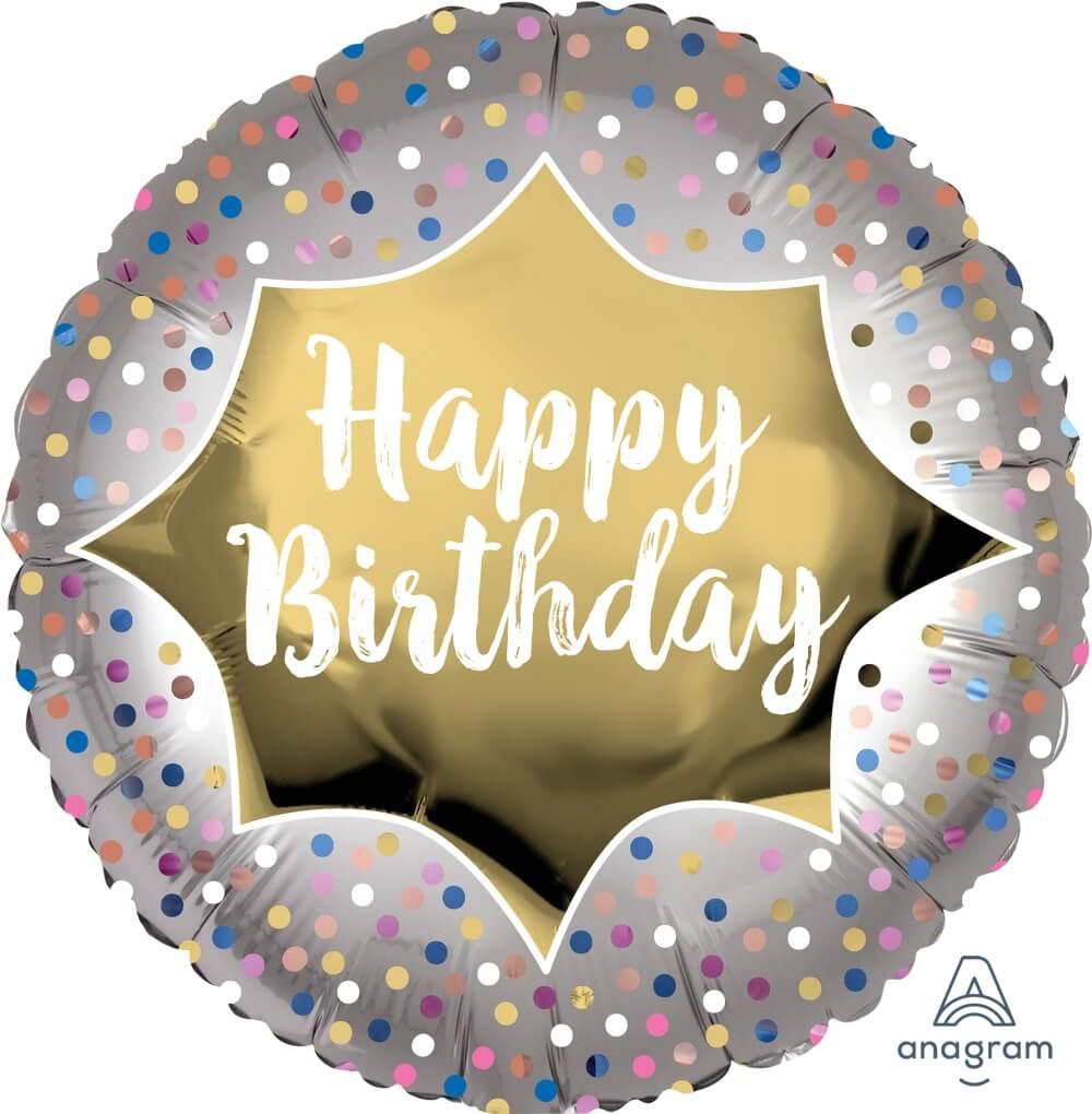Anagram 30848 Happy Birthday Bright Stripe /& Chevron Foil Balloon 25 Multicolored