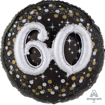 "Sparkling 60th Birthday Balloon 36"" P75-0"