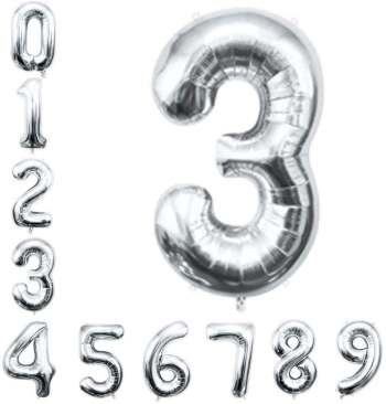 "16"" Numerical 3 Silver Balloon"