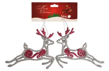 Christmas Tree Ornaments - Reindeer Hangings Silver
