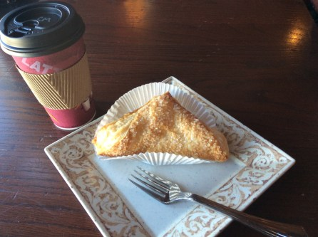 The Caramallow Latte with the Apple Turnover.