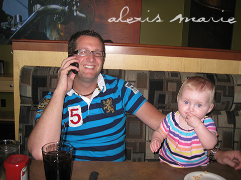 My husband Aaron and our daughter Hannah as we call our family to share the good news that we're having a boy.