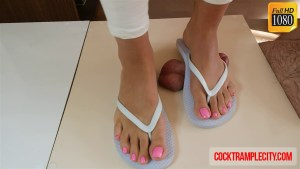 Cock and Balls Trampling with Flip Flops and Bare Feet