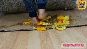 Crystal's Barefoot Squishing and Crushing Oranges