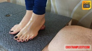 Footjob and Cock Crush with High Arches