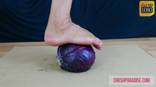 Mature Donna's Barefoot Red Cabbage Trample