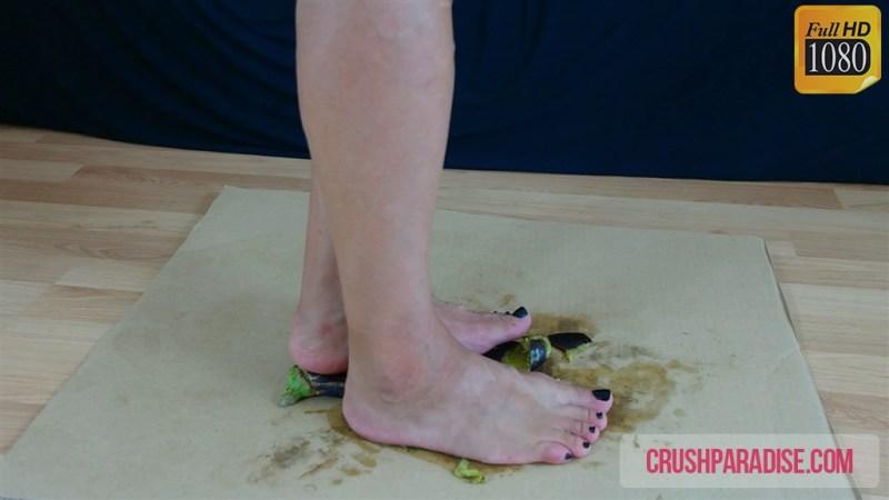 Mature Donna Crushes Eggplant Bare Feet