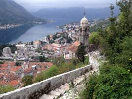 View of Kotor Bay while hiking up to the fortress