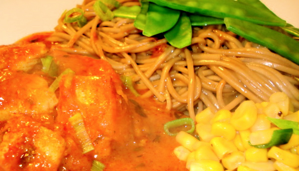 Saucy Buckwheat Noodles (with Peanut-Honey-Soy-Sesame Sauce), Chicken Tikka Masala, Snow Peas, and Corn corn corn corn.