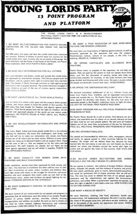 The Young Lords' revised Program and Platform.
