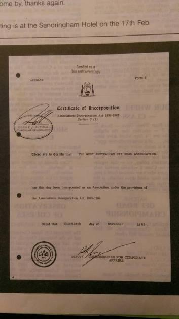WAORRA certificate of incorporation 1983