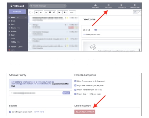 how to delete protonmail account