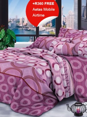 Queen Bedding Purple Circle Set
