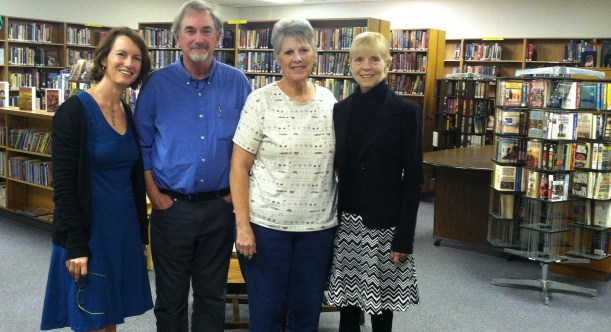 Post-reading photo op with poet Daniel Butterworth, librarian Julie Jantz and expert poet wrangler (and my generous hostess) Bev Scherr.