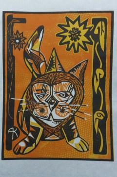 "Tony Kroes: ""Tiger at Marigold Gate"" Color-reduction woodcut."