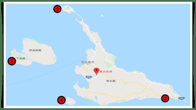 宮古島,シュノーケリング,おすすめスポット,地図