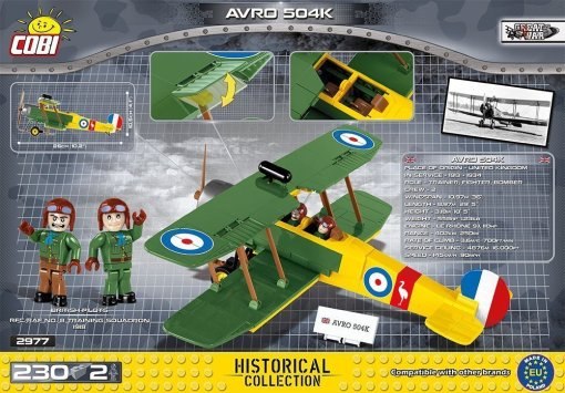 Cobi AVRO 504K Biplane Set Box rear