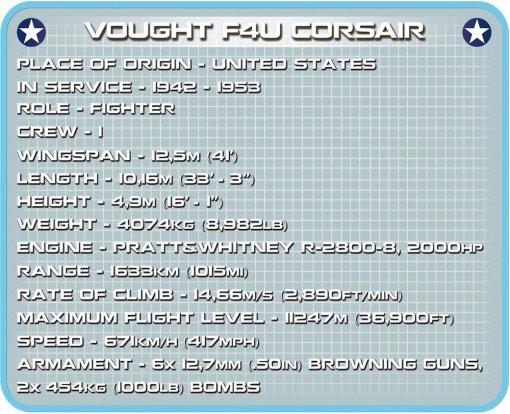 COBI F4U Corsair Fighter Set Specs