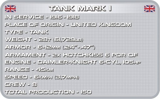 Cobi Mark I Tank SetSpec Sheet