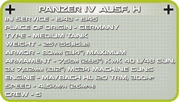 Cobi Panzer IV Tank Set (3 in 1) Spec sheet