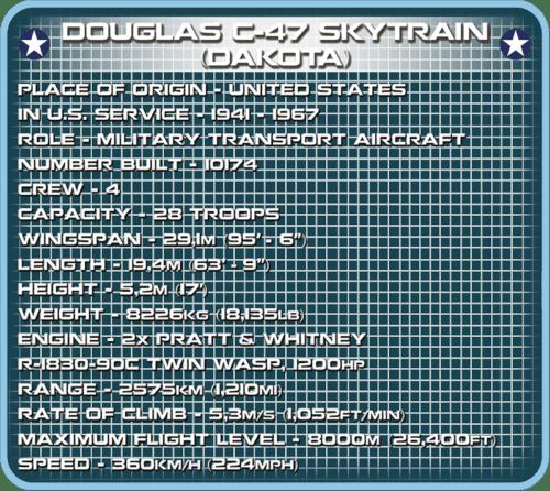 COBI C47 Skytrain Set Specs