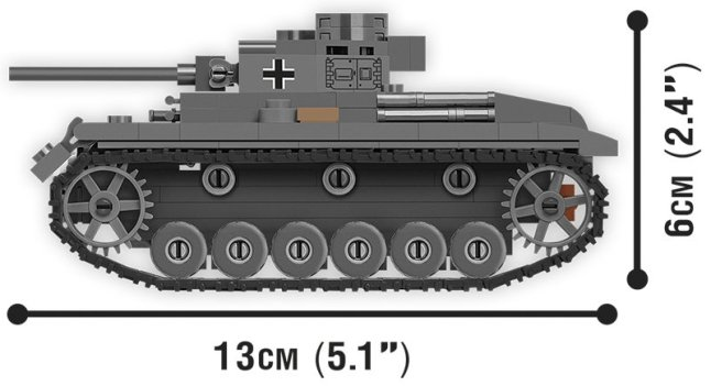 COBI 148 Scale Panzer III Set (3062) Size