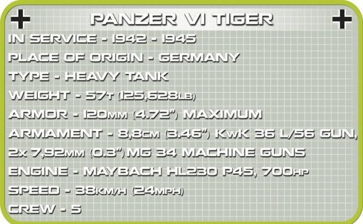 COBI 148 Scale Tiger Tank 2703 Specs