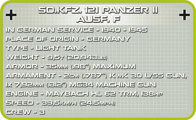 COBI Panzer II Ausf.F Tank Set Specs