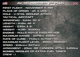 COBI AV-8B Harrier II Specs