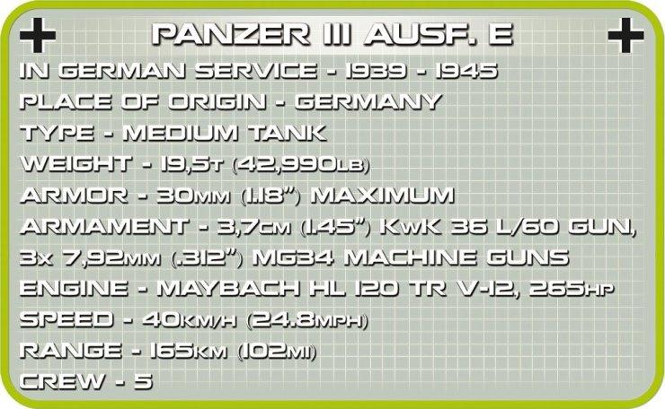 COBI PANZER III Ausf. E Tank Set (2523) Tech Specs