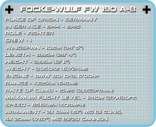 COBI Focke Wulf FW 190 Fighter Set (5704) Specs