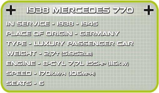 COBI 1938 Mercedes 770 Staff Car Set (2407) Specs