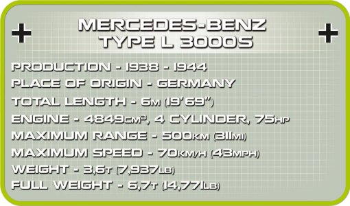COBI MERCEDES BENZ L3000S SET (2455A) specs